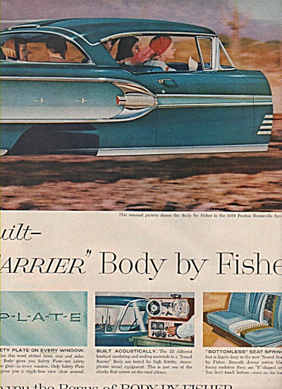 1958 Fisher Body FLYING Bonneville Car Print AD 2pg (Image1)