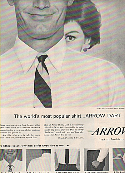 1958 Arrow Mens Shirt Print AD - Hide Behind Your Man (Image1)