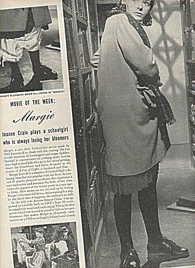 Movie: MARGIE  with Jeanne Crain Ad article (Image1)