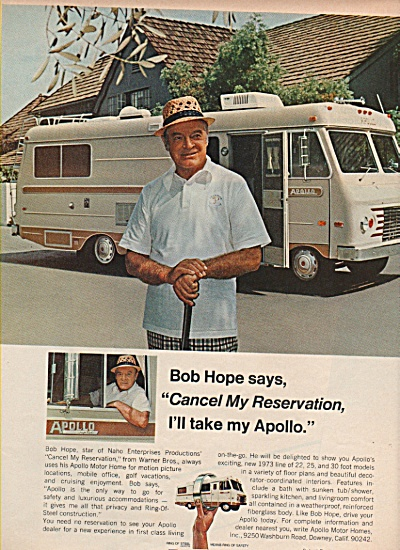 Apollo Motor Homes - Bob Hope Ad 1972