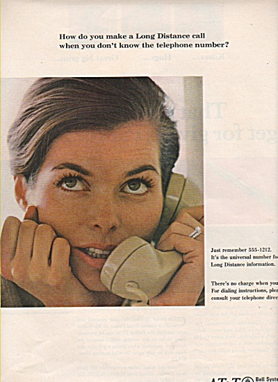 A T & T  bell system ad 1966 GIRL CALLING LONG DISTANCE (Image1)