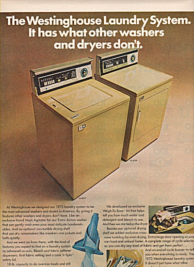 Westinghouse washer and dryer ad 1972 (Image1)