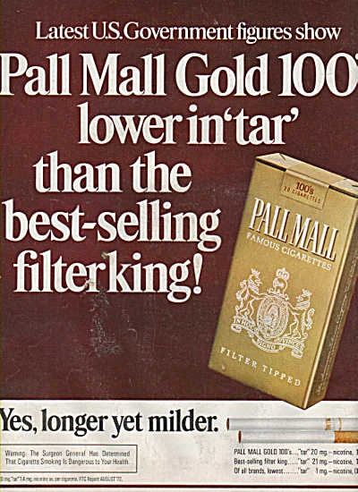 Pall Mall filter tipped cigarettes ad 19782 (Image1)