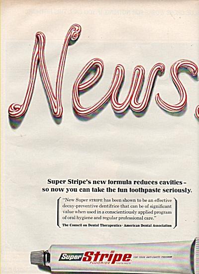 1966 Super Stripe Tooth Paste Print AD - New Formula (Image1)