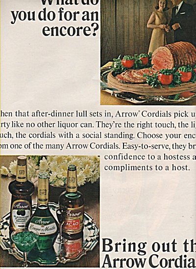 1966 Arrow Cordials Print Ad - Cacao - Blackberry +++