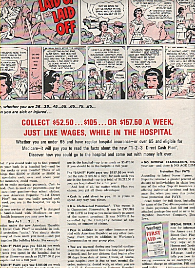 1966 Cartoon Print AD First Aid Family LAID UP Laid OFF (Image1)