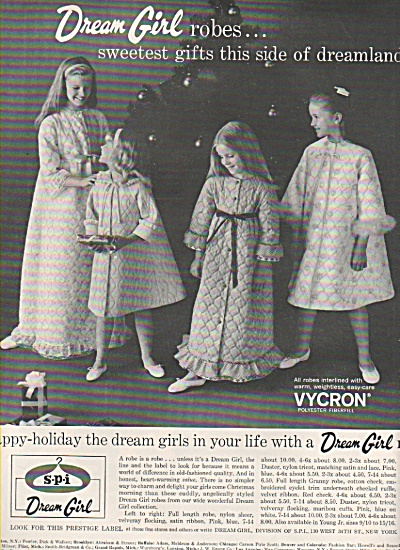 1966 Dream Girl Print AD Young Girls Bathrobes - B/W (Image1)