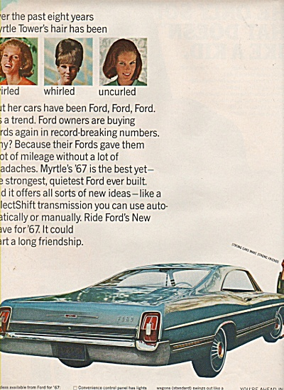 1967 Ford Car Vintage Print Ad Myrtle Tower Hair