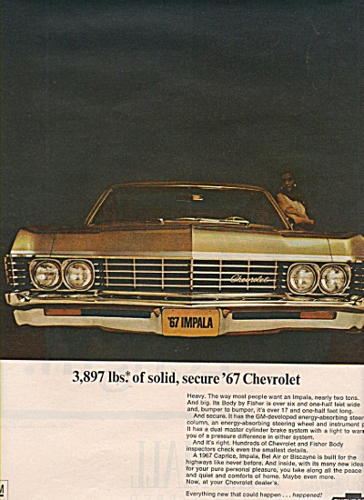 1967 Chevy Chevrolet IMPALA Car Print AD Vintage (Image1)