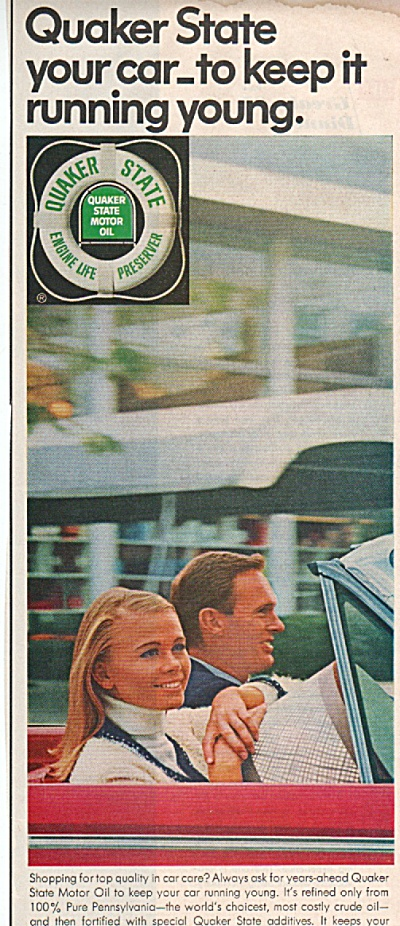 1966 Quaker State Motor Oil Print Ad Model And Guy