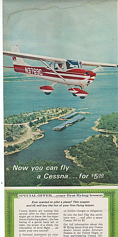 1966 Cessna Airplane Print Ad - Plane Lesson Fly