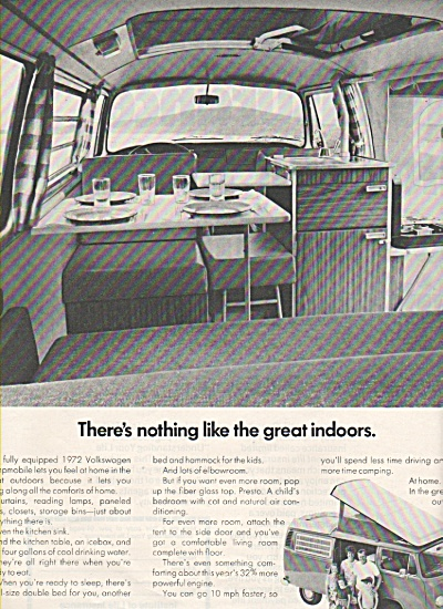 1972 Volkswagen Vw Campmobile Camper Ad - Great Indoors