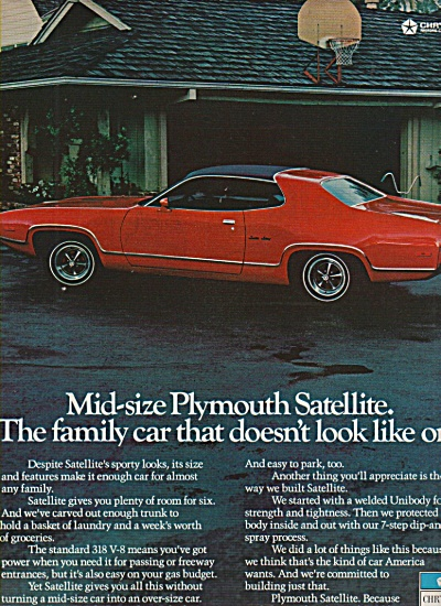 1972 Plymouth Satellite Automobile Car Color Print Ad
