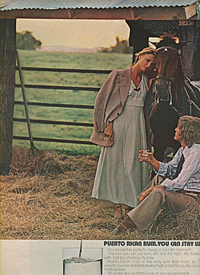 1972 Puerto Rican Rum Ad - Girl Guy In Hay W/ Horse
