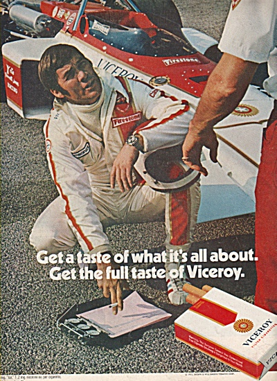 Viceroy cigarettes ad 1972 PIT STOP (Image1)