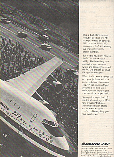 Boeing 747 Airplane Ad 1968