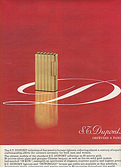 S.T. Dupont collectionof fine jewelry, lighters ad 1968 (Image1)