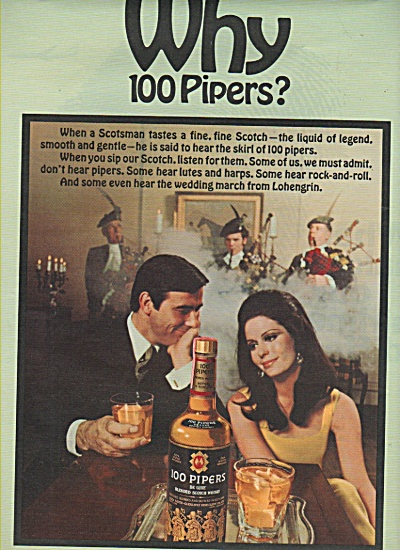 100 Pipers deluxe blended scotch whisky ad 1968 (Image1)