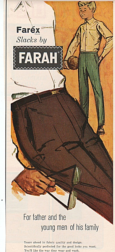 1963 Farah Mens Slacks Print Ad - For Father - Lad