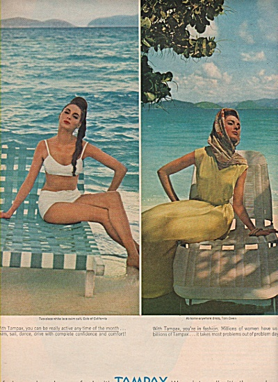 1963 Tampax Tampons Print AD - Model Bathing Suit (Image1)