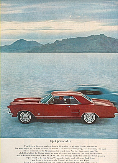 1963 Buick Riviera Automobile Car Print AD RED (Image1)