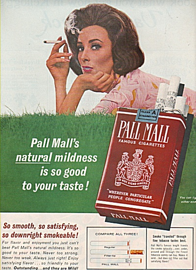 1963 Pall Mall Cigarettes Print AD Model Lying in Grass (Image1)