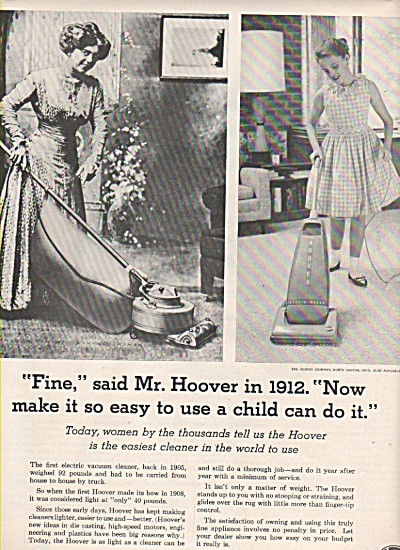 1963 Hoover Vacuum Print AD - Mrs in 1912 - Young Girl (Image1)