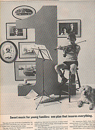 1963 Nationwide Insurance Print AD Boy Playing Violin  (Image1)