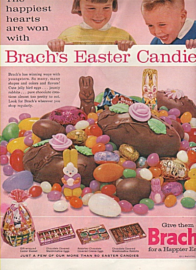 1963 Brach's Easter Candy Print Ad - Little Kids Asst