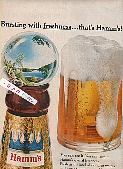 1965 Hamm's Beer Print Ad Busting With Freshness