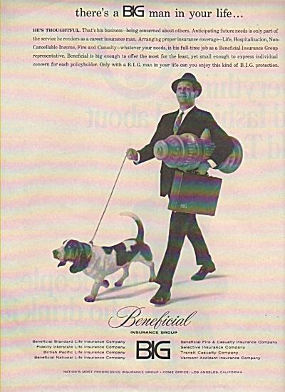 1965 Beneficial Insurance Print AD Man Walking Dog  (Image1)
