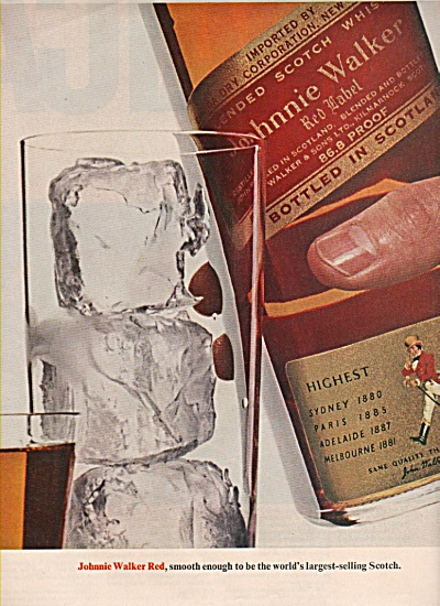 1965 Johnnie Walker Red Scotch Print AD ON THE ROCKS (Image1)