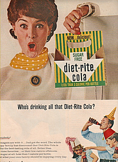 1965 Whose Drinking The Diet-rite Cola Soda Print Ad