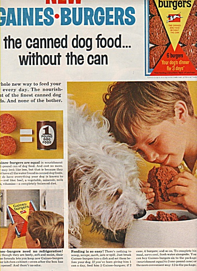Gaines Burgers - canned dog food ad 1965 (Image1)