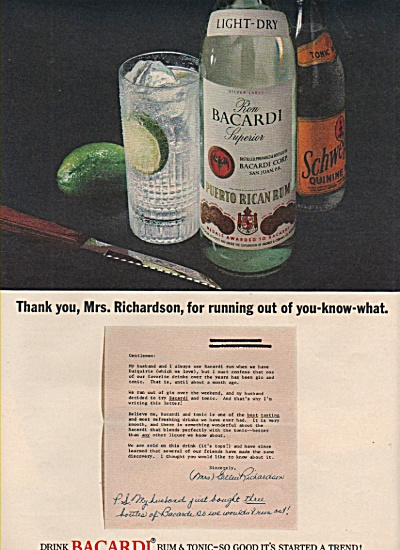 1965 Bacardi Rum And Tonic Print Ad Mrs Richardson