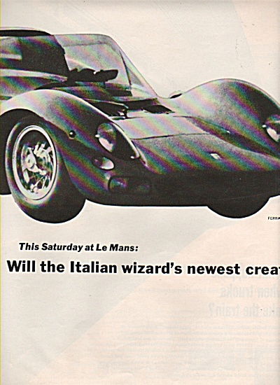1965 Ferrari 330 P2 - Ford Gt 40 2 Car Print Ad Shell