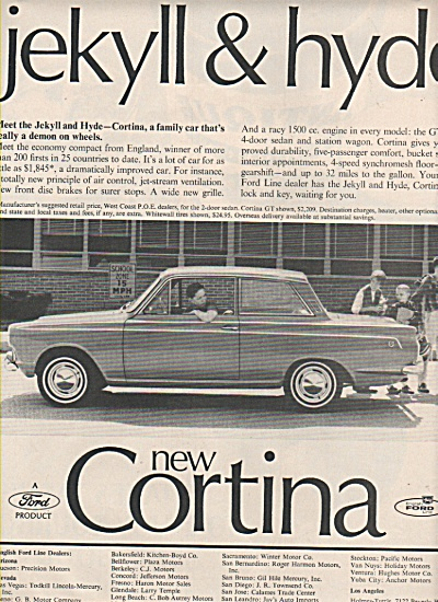 1965 Ford Cortina Automobile Car Print AD JEKYLL HYDE (Image1)