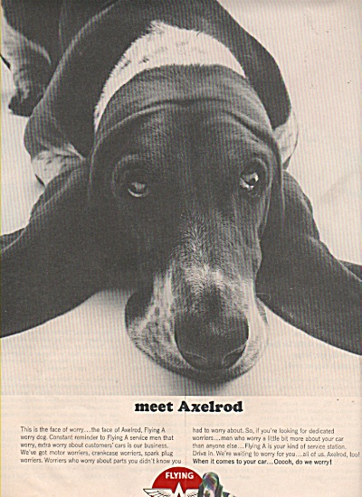 1965 Flying A Service Gas Station Print Ad Alexrod Dog