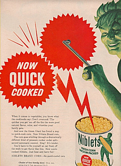 1958 SCARY JOLLY Green Giant Niblets Print AD Corn (Image1)