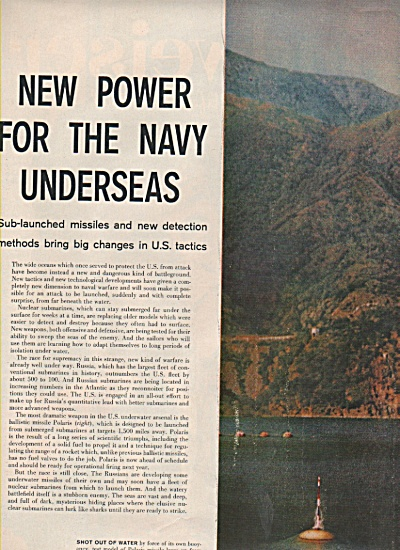 1958 US Navy UNDERSEA Power Submarines 12pg Story (Image1)