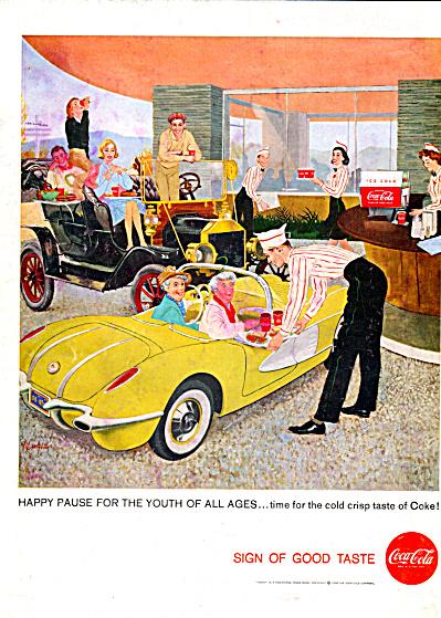 1958 Coca Cola Print AD Featuring a Chevrolet Corvette  (Image1)