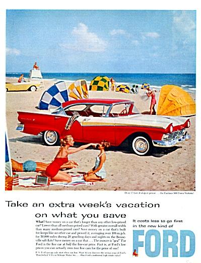1957 Ford Fairlane 500 Town Victoria Beach Print Ad (Image1)