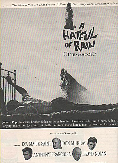 1957 Movie Print AD:  A HATFUL  OF  RAIN  1957 (Image1)