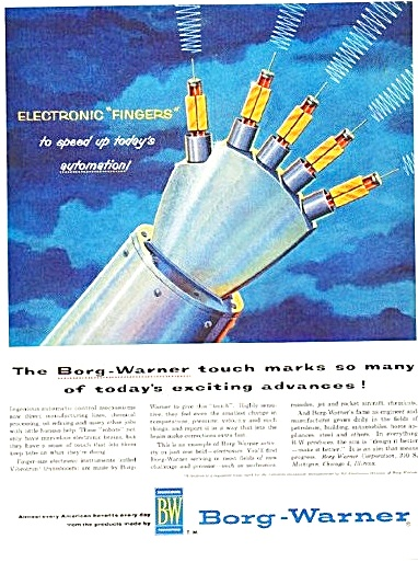 1957 Borg Warner Print AD Electronic Fingers Automation (Image1)