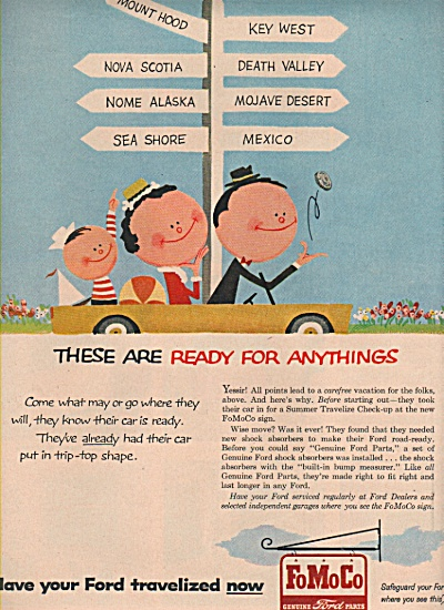 1957 Fo Mo Co FOMOCO Ford Parts Print AD Cartoon (Image1)