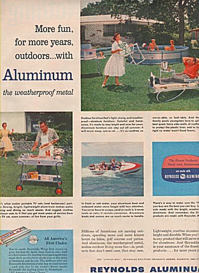 1957 Reynolds Aluminum Print AD Pool Grill Boat ++ (Image1)
