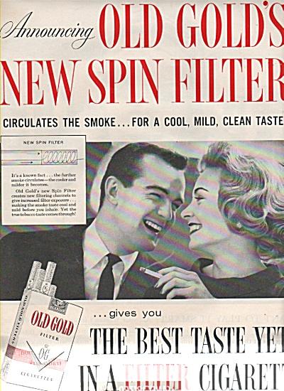 1958 Old Gold Cigarettes Print AD FUN COUPLE Smoking (Image1)