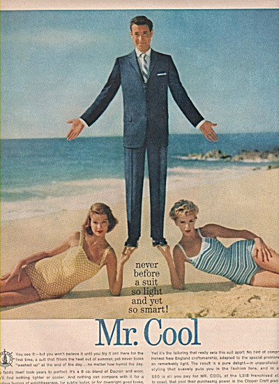 1958 Clipper Craft Mens Suit Print Ad Mr Cool 2 Girls