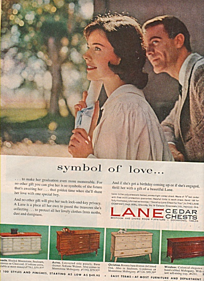 1958 Lane Cedar Chests Print Ad Symbol Of Love Graduate