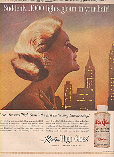 1958 Revlon Gloss Hair Spray print AD 1000 Lights Model (Image1)
